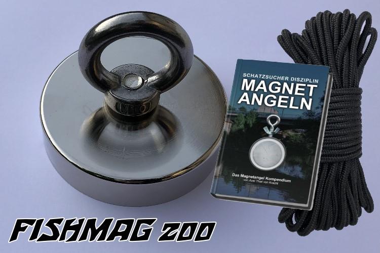 Bergemagnet FISHMAG 200 mit Nylonseil und Magnetangelbuch